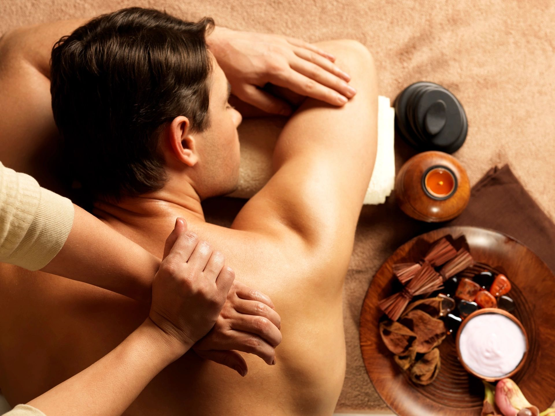 men enjoy deep tissue massage