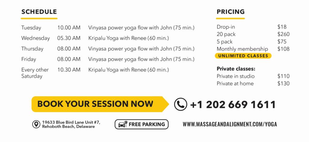 Rehoboth Yoga schedule